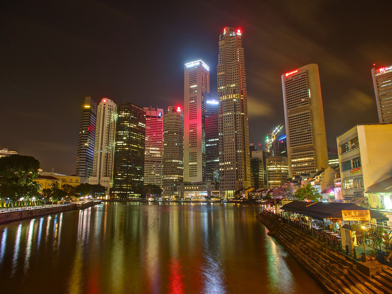 Boat Quay and Sklyline - Singapore