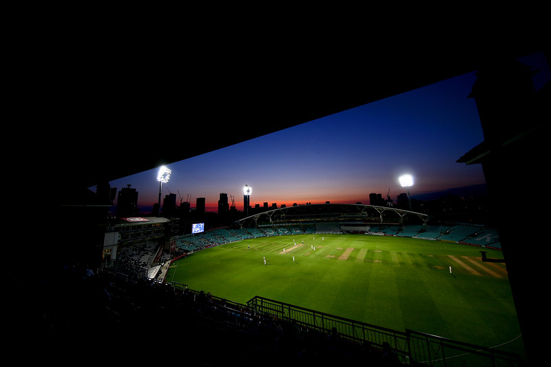 A perfect evening for the first ever day/night Country Champioship match at the Kia Oval between Surrey and Lancashire on August 21, 2018 in London, England.