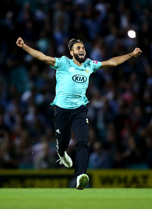 Imran Tahir of Surrey celebrates dismissing Delray Rawlins of Sussex during the Vitality T20 Blast match between Surrey and Sussex at The Kia Oval on August 15, 2019 in London, England.