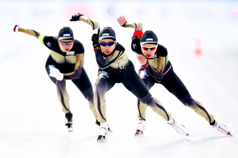 The Japan team of Nene Sakai, Ayano Sato and Mizuho Takayama compete in the Women's Team Pursuit during day three of the ISU World Junior Speed Skating Championships at Stegny Ice Rink on February 22, 2015 in Warsaw, Poland.