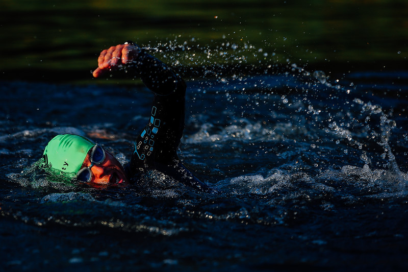 An athlete swims during the Challenge Triathlon Roth on July 12, 2015 in Roth, Germany.