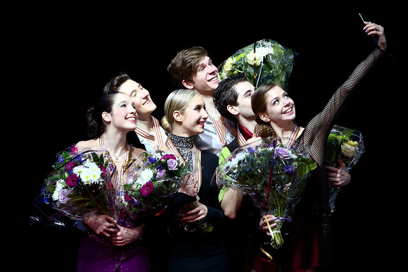 Selfie time for the medalists of the Ice Dance competition at the ISU World Junior Figure Skating Championships at Tondiraba Ice Arena on March 7, 2015 in Tallinn, Estonia.