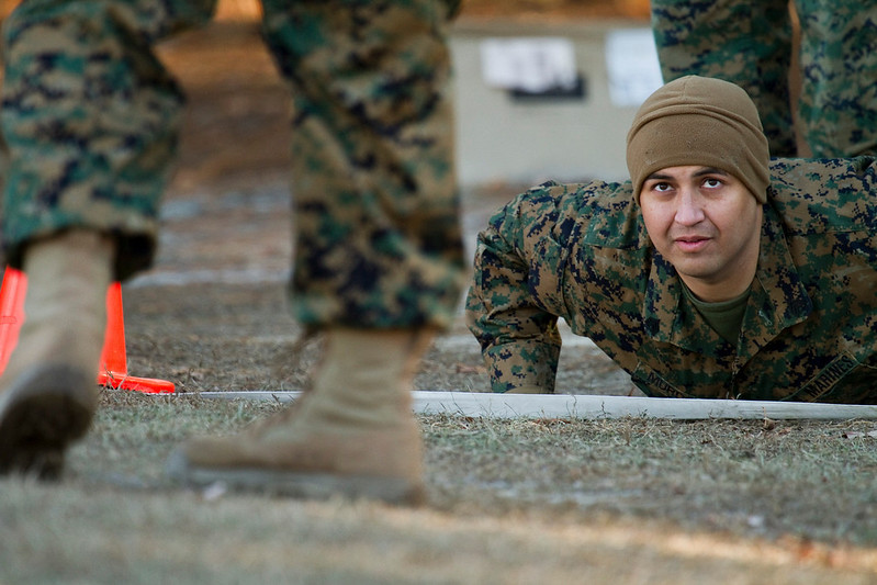 Sergeant Victor Alejandra prepares to conduct his Combat Fitness Test, one of the final training events for Sergeant's Course Class 1-11, Camp Johnson, North Carolina.