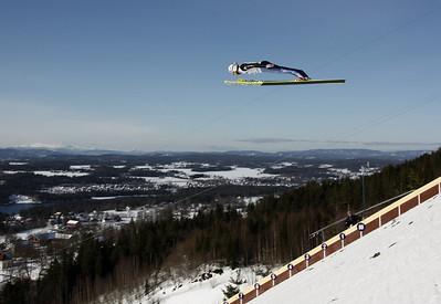 World Cup Ski Flying Vikersund 2009 - Simon Ammann soaring high above the hill