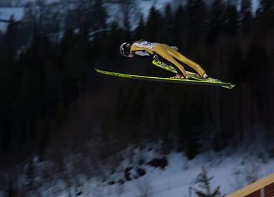 Annette Sagen in the ski flying hill in Vikersund, as a trial jumper for the 2009 World Cup competion