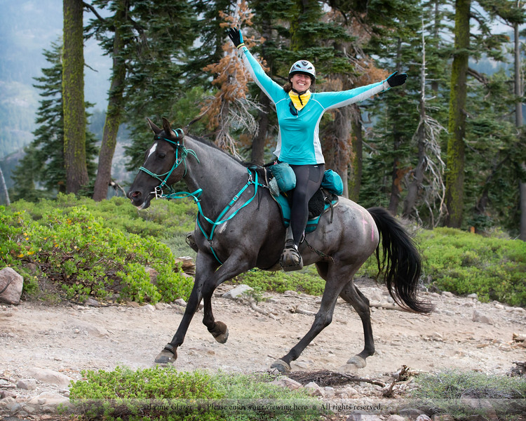 Brenna Sullivan and Sky on the way to their second Tevis finish, 2017