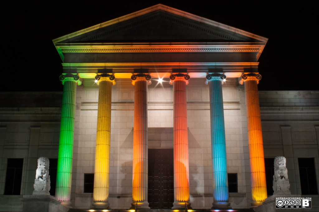 Minnesota Museum of Art<br /> The Minneapolis Institue of Arts. They originally lit the columns for a gay pride event. They have decided to continue the lighting colors.