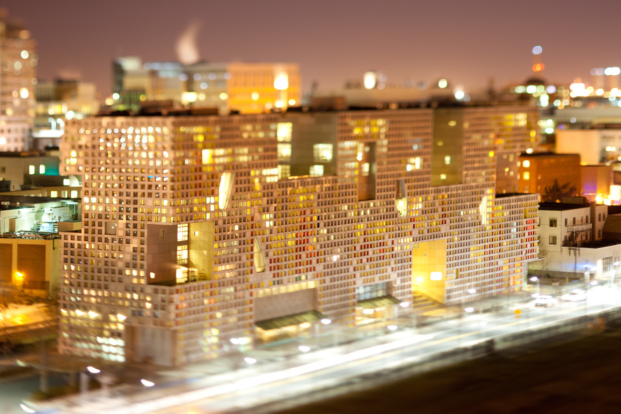 Simmons Hall of MIT. Miniature effect -- Tilt-Shift Lens Canon 90mm f/2.8 TSE.