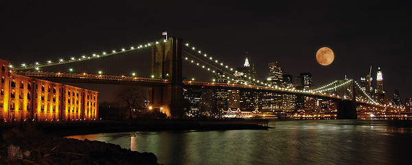 The Brooklyn Bridge from the Old Empire Ferry Landing in Brooklyn, New York City