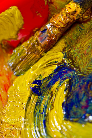 My Palette & Brush<br /> Mon. July 26, 2010 (Day 57)<br /> <br /> I have a painting bug.  I need to get the canvas & all the good stuff out!<br /> <br /> Tiny info:<br /> * D90 and 105mm macro.<br /> * Coleman lantern for lighting.