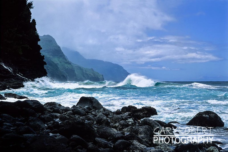 Hawaii Wave Action on Kauai
