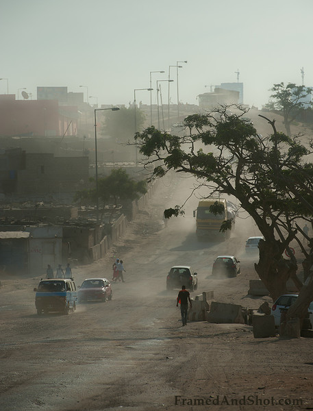 Dusty street in Viana, outside of Luanda.