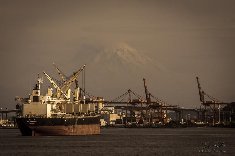 Mt. Rainier as a backdrop for this ship.  Taken in Seattle, WA.