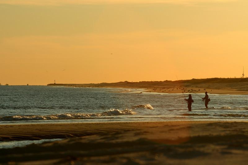 Fishermen at sunset.