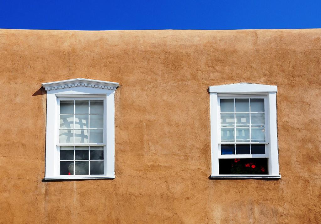 Restaurant windows in Santa Fe, NM.