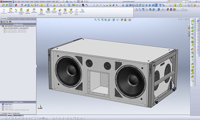 "Every part of this 3D loudspeaker assembly was modeled in SolidWorks based on dimensional references found in old, 2D AutoCAD drawings. Each individual piece was modeled as a separate SolidWorks ""Part"" and then mated to created this complete 3D assembly."