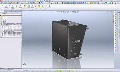 "This 3D tilting wall bracket assembly was modeled directly from a physical object using only a pair of digital calipers for measurement. Each individual piece was modeled as a separate SolidWorks ""Part"" and then mated to created this complete 3D assembly."