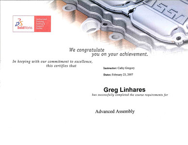 Hawkridge Systems Training Certificate for SolidWorks Advanced Assembly Course completed in February 2007.