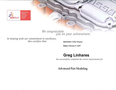 Hawkridge Systems Training Certificate for SolidWorks Advanced Part Modeling Course completed in February 2007.