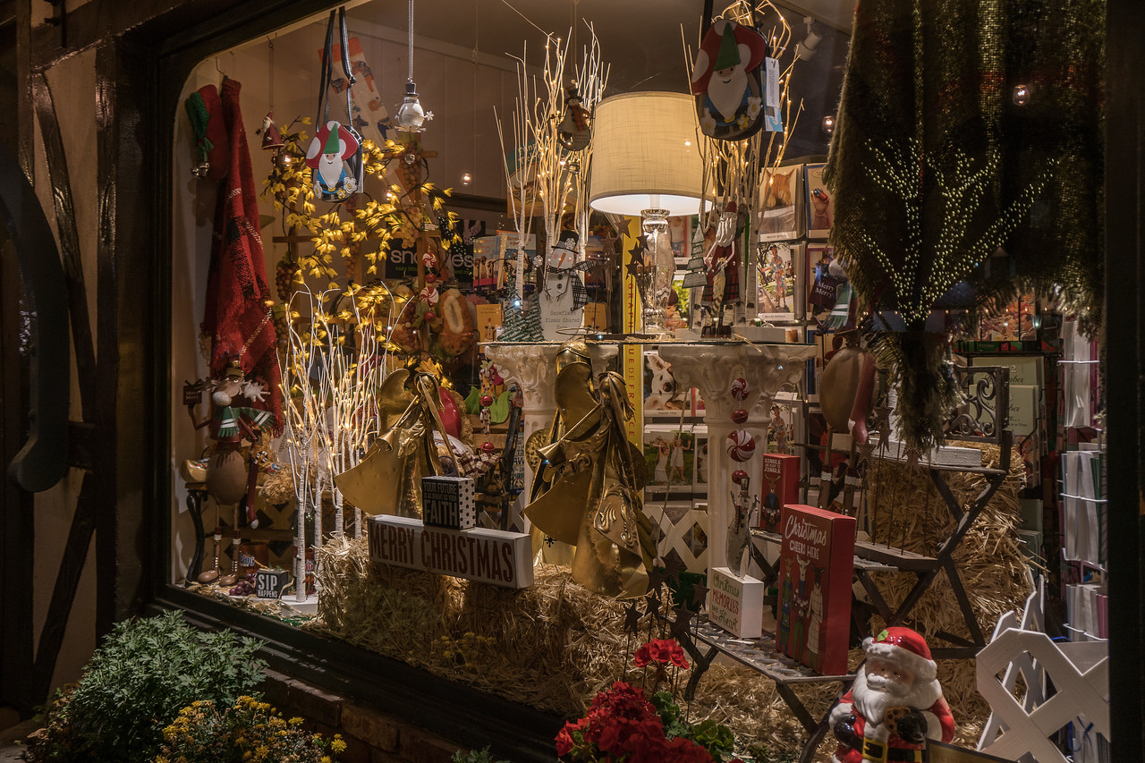 Solvang shop window at Christmas time.