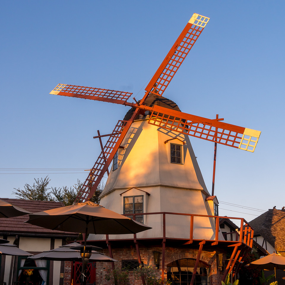 Windmill, part of the Solvang Brewing Company, in the late afternoon