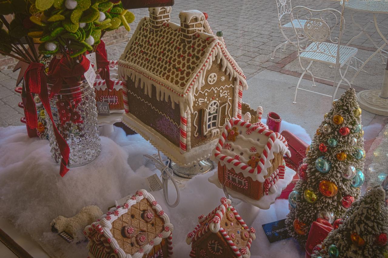 Gingerbread houses in bakery window in Solvang