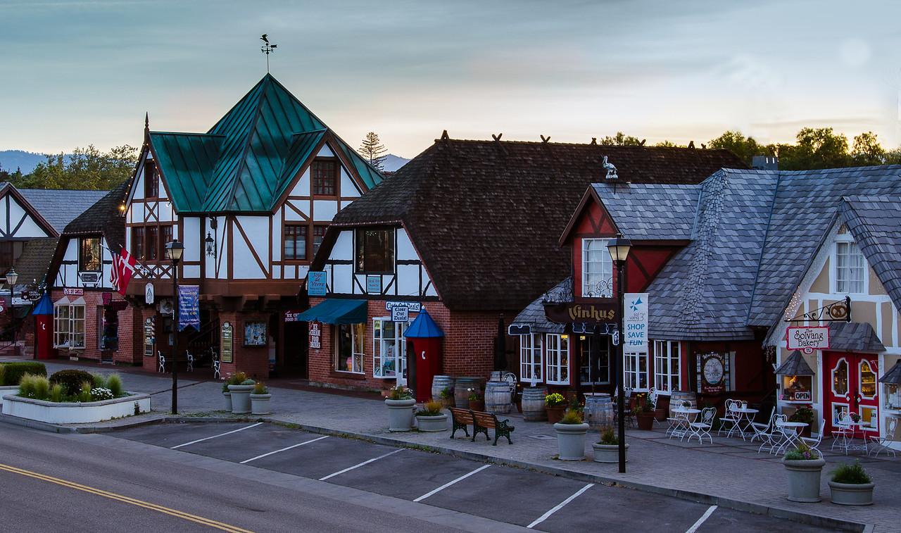 Solvang village street at dawn