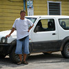Standing next to the surprisingly reliable small jeep that took me around the country for a couple of weeks.  Picture taken just before leaving Belize City on my way back to Mexico via Caye Caulker and Ambergris. © Copyrights Michel Botman Photography