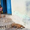 Chica malhumorada y perro soñoliento