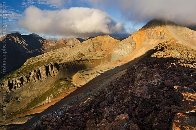 Monsoon sunrise on Fuller Peak, Ice Lake Basin, San Juan Mountains, Colorado, September 2012.