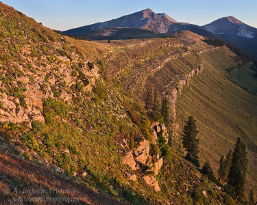 Sunrise on Trailriders Wall, looking towards the Truchas Peaks, in New Mexico's Pecos Wilderness, September 2011.
