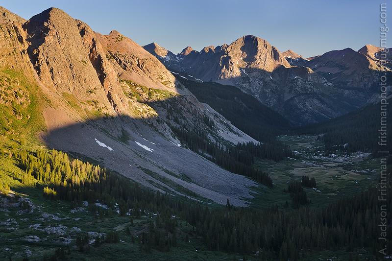 Morning above Rock Creek, looking west to the Grenadier Range, Weminuche Wilderness, Colorado, June 2012.