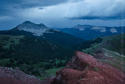 Thickening evening storm over Engineer Mountain in Colorado's San Juan Range, September 2012.