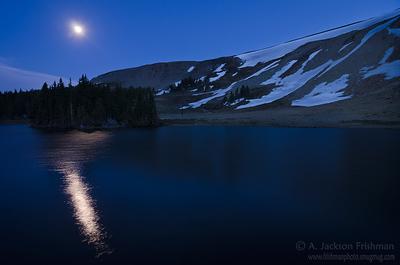 Moonrise over Horseshoe Lake, Pecos Wilderness, New Mexico, June 2012.