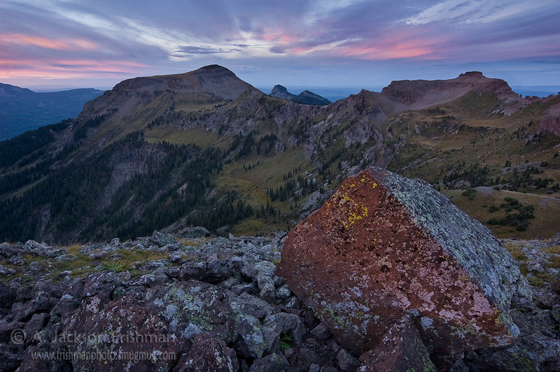 The instant of dawn above the Little Blanco Trail in Colorado's South San Juan Wilderness. Moments later, the sun rose into a cloud bank and the light was dead. September, 2010.