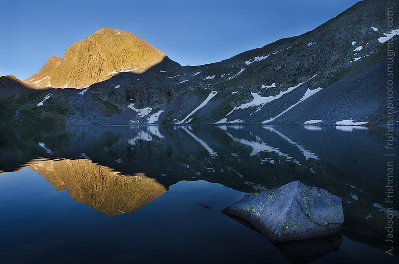 Evening reflections at Rock Lake, Weminuche Wilderness, Colorado, June 2012.