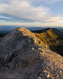 Sunrise on Sheepshead and Jicarilla Peaks, Pecos Wilderness, New Mexico, September 2011.
