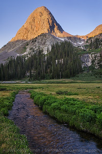 Sunrise strikes Buffalo Peak in Colorado's Weminuche Wilderness, June 2012.