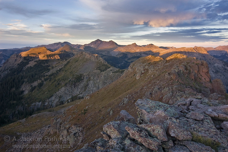 Sunset over the Continental Divide and the Little Blanco Trail, Summit Peak on the center horizon. South San Juan Wilderness, Colorado, September 2010.