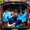 """Way Home<br /> Chiang Mai, Thailand<br /> <br /> A group of students seen inside a songthaew (Thailand's public passenger truck, which literally means """"two rows"""") on their way home after school."""