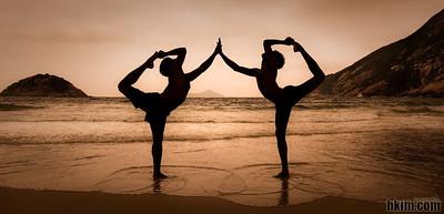 Shapes, Symbols and Yogis  Shek O, Hong Kong  Two Indian yoga teachers I met on the beach