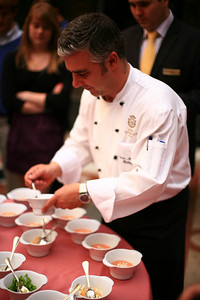 Chef at Hotel Alfonso XIII in Seville makes gazpacho.