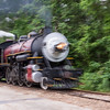 Abstract blur creating sense of speed in 1917 Baldwin steam engine 300 at Texas State Railroad.