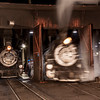 1925 2-8-2 Mikado type Baldwin Steam Locomotives in maintenance shop at Durango and Silverton Narrow Gauge Railroad Night Photo Shoot.