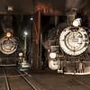 1925 Baldwin Steam Locomotives at night JN067379