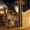 1925 2-8-2 Mikado type Baldwin Steam Locomotive at Durango and Silverton Narrow Gauge Railroad Night Photo Shoot.