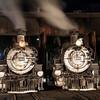 1925 Baldwin Steam Locomotives at night JN067375