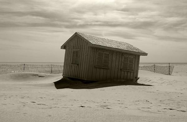 Beach Shack in sepia