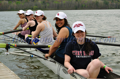 Bri, Michelle,Annamarie,Ellen, Deeba. Stony Brook novice women's 4, practice. NYS College Championships 2010, May 1, Whitney point, Dorchester Park.