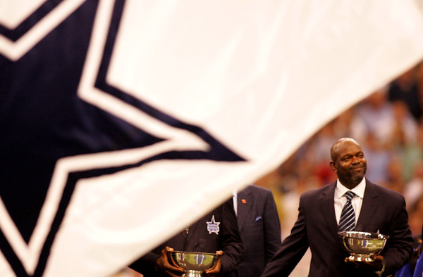Emmitt Smith being inducted into the Texas Stadium Ring of Honor in Irving, Texas.